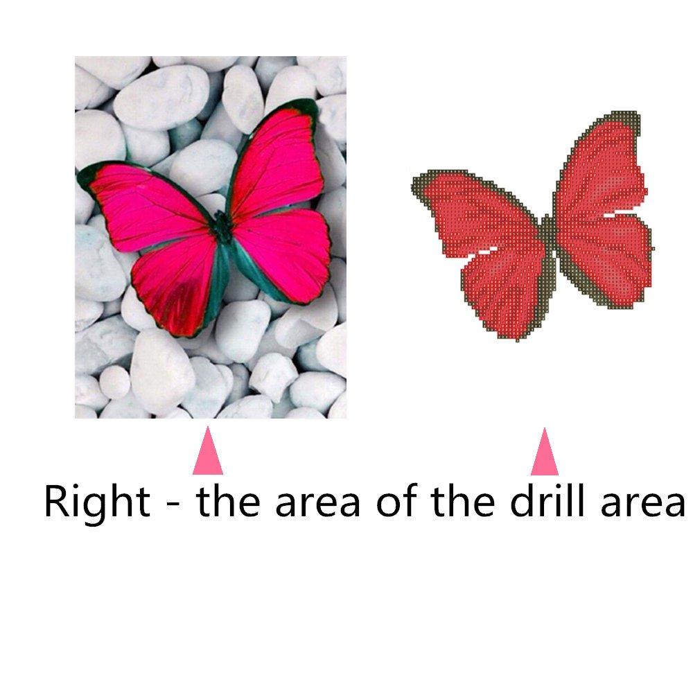 DIY 5D Diamond Painting Butterfly D feilin Diamond Embroidery Rhinestone Painting Cross Stitch Kit Wall Art Decor 5D Diamond Painting by Number Kits Home Decor 25x32cm
