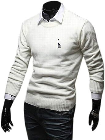 Crystallly Sudadera De Cuello Camisa Sólido Redondo De Color De Punto Estilo Simple De Hombre Camisa