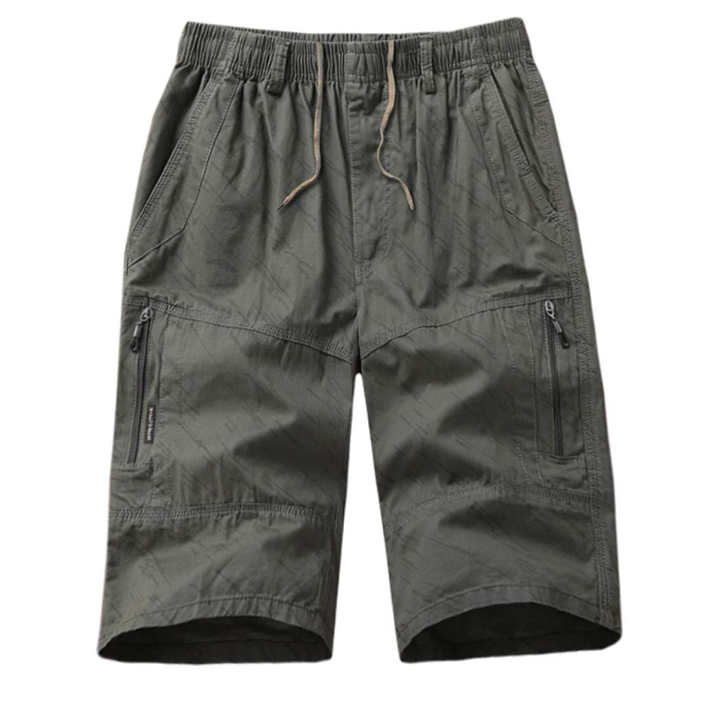 Cianjue_Dress Men Casual Cargo Shorts Summer Fashion Cotton Beach Short with Zip Multi-Pocket Stretch Flex Waist Pants Gray