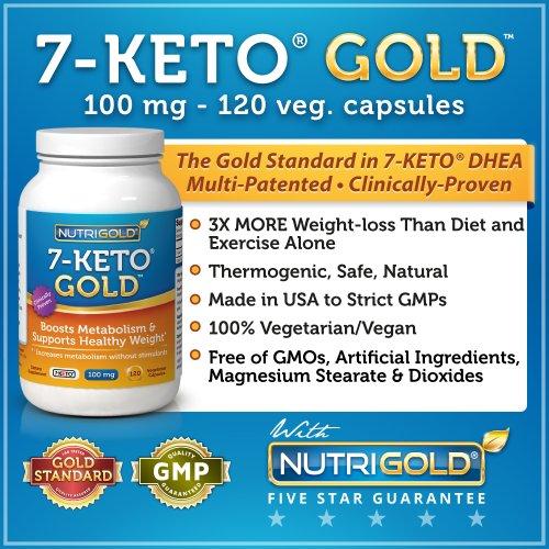 7-Keto 100mg, 120 capsules végétariennes (Recommandé comme n ° 1 à Ventre-de dynamitage de perte de poids Suppléments)