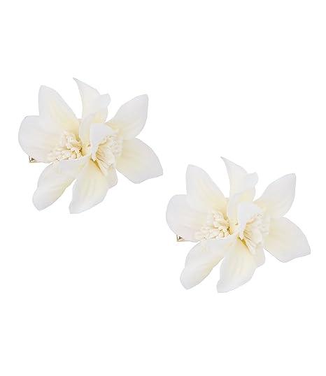 SIX Brautschmuck, 2 weiße Blumen Haarspangen, große Lilien Blüten ...