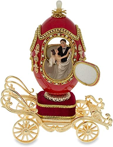BestPysanky Royal Wedding Coach Royal Inspired Russian Egg with Music Box 7.1 Inches