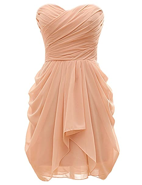 Review H.S.D Strapless Ball Gown Short Chiffon Bridesmaid Dress Prom Dresses