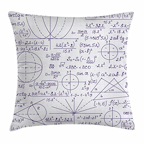 Modern Throw Pillow Cushion Cover by Ambesonne, School Genius Smart Student Math Geometry Science Numbers Formules Image Art, Decorative Square Accent Pillow Case, 18 X 18 Inches, Dark Purple White