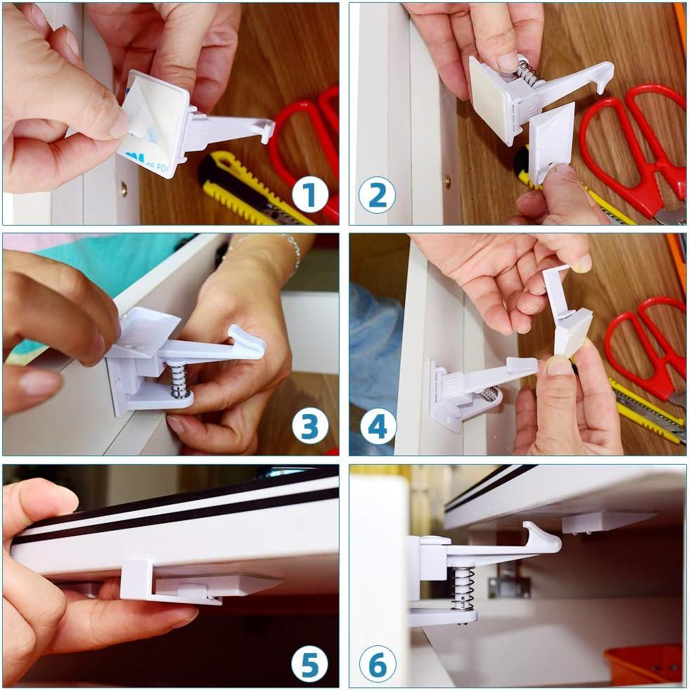 12 Pack Cerraduras de Seguridad para Ni/ños Bebe con Adhesivo Fuerte Dise/ño Invisible Cierres de seguridad Para Cajones Armarios Cerraduras de Armario 12 cerraduras + 1 Regalar