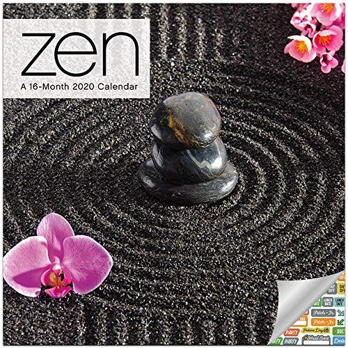 Zen Calendar 2020 Set - Deluxe 2020 Zen Meditation Mini Calendar with Over 100 Calendar Stickers (Mindfulness Gifts, Office Supplies)