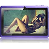 Haehne 7 Inch Android 4.4 Google Tablet PC 512MB DDR3 Allwinner A33 1.5GHz Quad-Core Capacitive Touch Screen Dual Cameras WiFi 8GB Purple