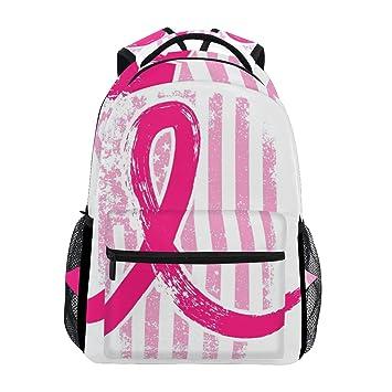 Amazon.com: Mochila con diseño de bandera de lazo rosa para ...