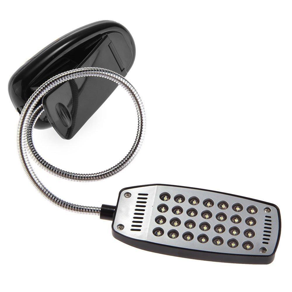 R Lampe de Bureau 28 LED Light Flexible a Pince pour PC Notebook Laptop NOIR liseuse SODIAL