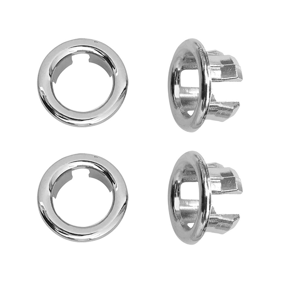Kitchen Bathroom Basin Sink Hole Round Trim Chrome Overflow Cover Replacement Part, Pack of 4 Farnavi
