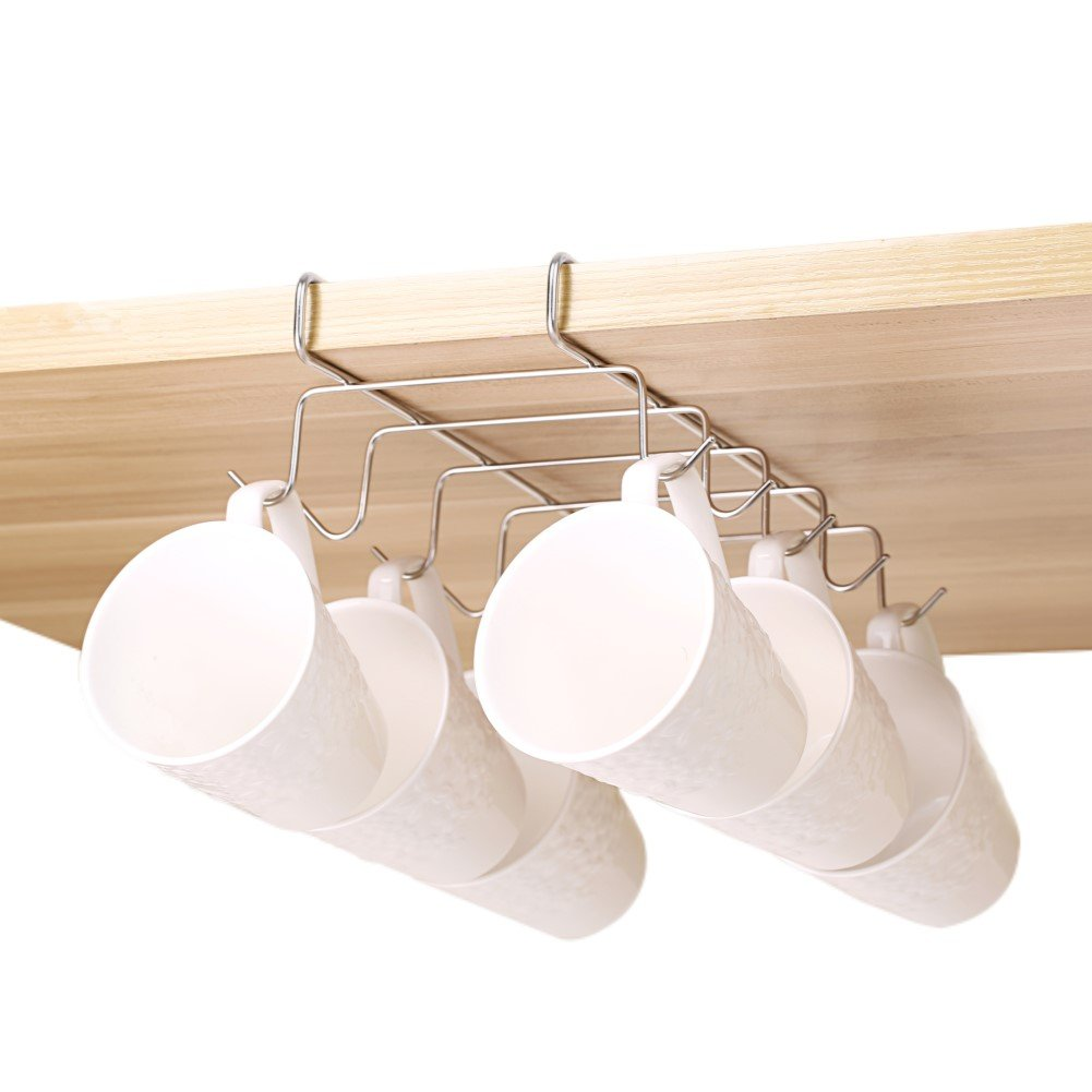 Bafvt Coffee Mug Holder - 304 Stainless Steel Cup Rack Under Cabinet, 10Hooks, Fit for the Cabinet 0.8'' or Less