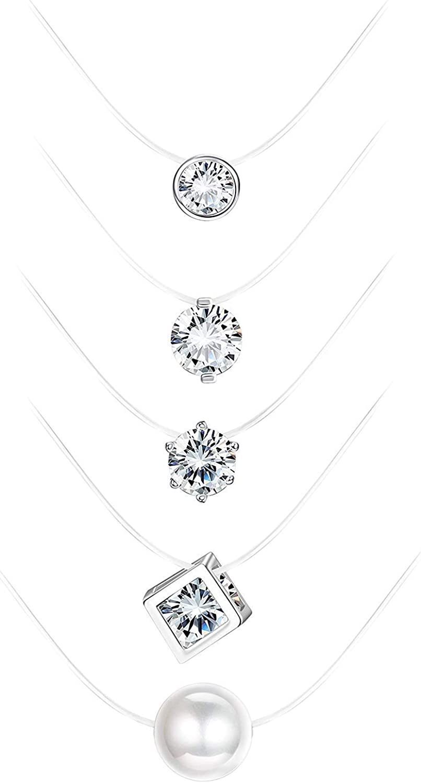Finrezio Choker Collar Transparente con Zirconia Brillante para Mujer Niña Collar Hilo Nylon