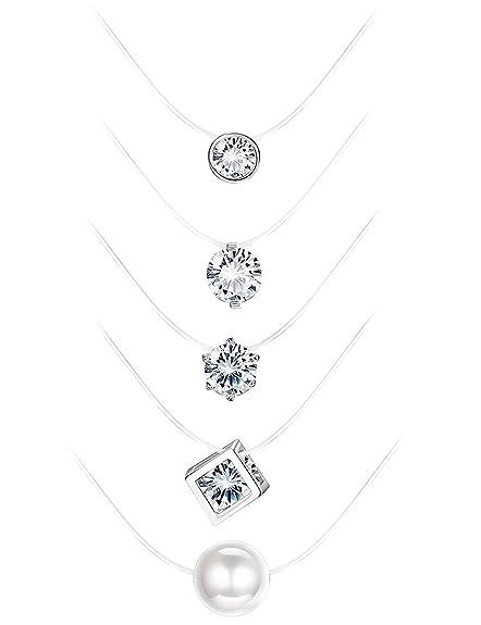 unsichtbare Nylon transparente Kette Halskette schwebende Perle 8mm NEU