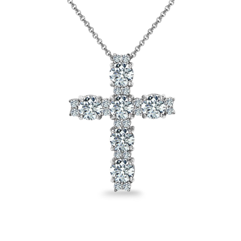 Sterling Silver Round-cut Cross Necklace Made with Swarovski Zirconia