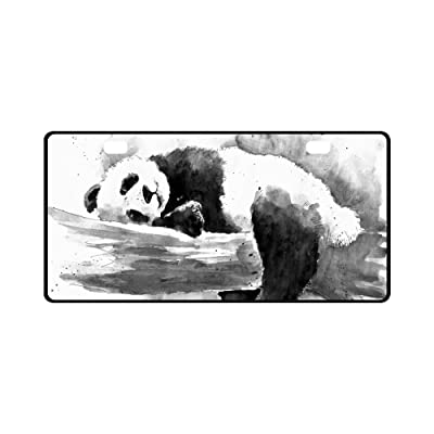"INTERESTPRINT Watercolor Black and White Panda Cute Animal Metal License Plate for Car, Car Tags Cover for Woman Man - 11.8"" x 6.1"": Automotive"