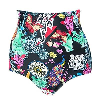 JOYMODE Women's Retro High Waisted Bikini Bottom Ruching Swim Briefs Size S to 3XL