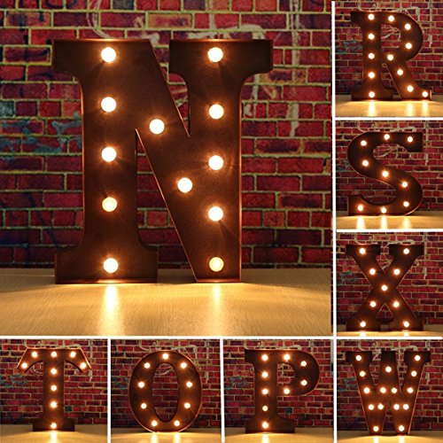 Anncus Vintage Metal LED Light DIY Letter N to X Sign Carnival Wall Marquee Decoration - (Letter: R) ()