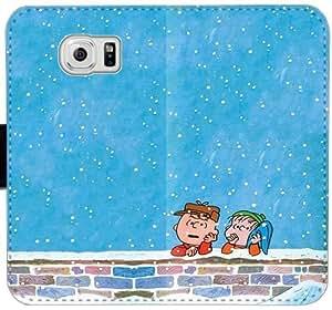 Caja del cuero de Navidad de Charlie Brown G5X3H Funda Samsung Galaxy S6 Edge Funda Caso 54T46j tapa del teléfono celular funda de plástico bricolaje