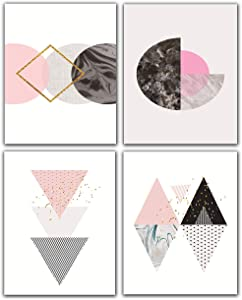"Abstract Pink Geometry Art Print Poster,Unframed Set of 4(8""x10"") Geometric Wall Art Canvas Painting Triangles,Sunrise Art Print for Living Room Wall Décor"
