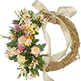 Emlyn Spring Door Wreath 15 inch -Handcrafted On A Grapevine Wreath Base- Pink and Green Tones