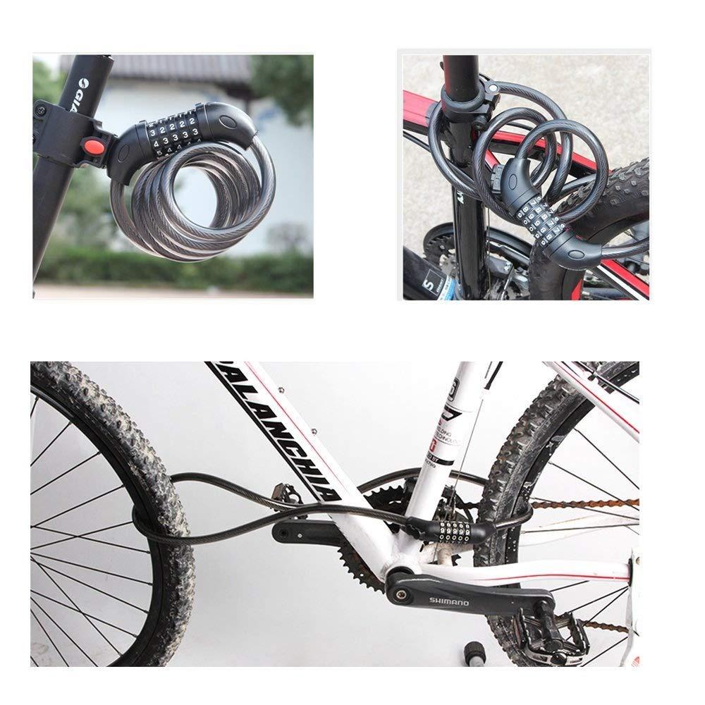 Bike Lock, emiup seguridad 5 dígitos combinación candados de ...