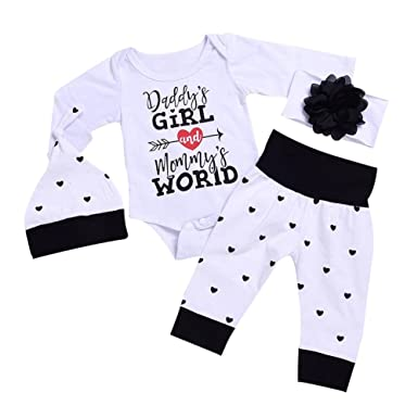 2e5a6349bff Shiningup Baby Girl Clothing Set Daddy s Little Princess Long Sleeve Romper  Tops Pants and Hat Headband for Newborn Infant Toddler  Amazon.co.uk   Clothing