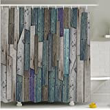 """Fashion Dream Fabrics Rustic Shower Curtains.Rustic Planks Barn House Wood and Nails Lodge Hardwood Graphic Print 69 """"Wide & 70"""" High.Blue ,Grey"""