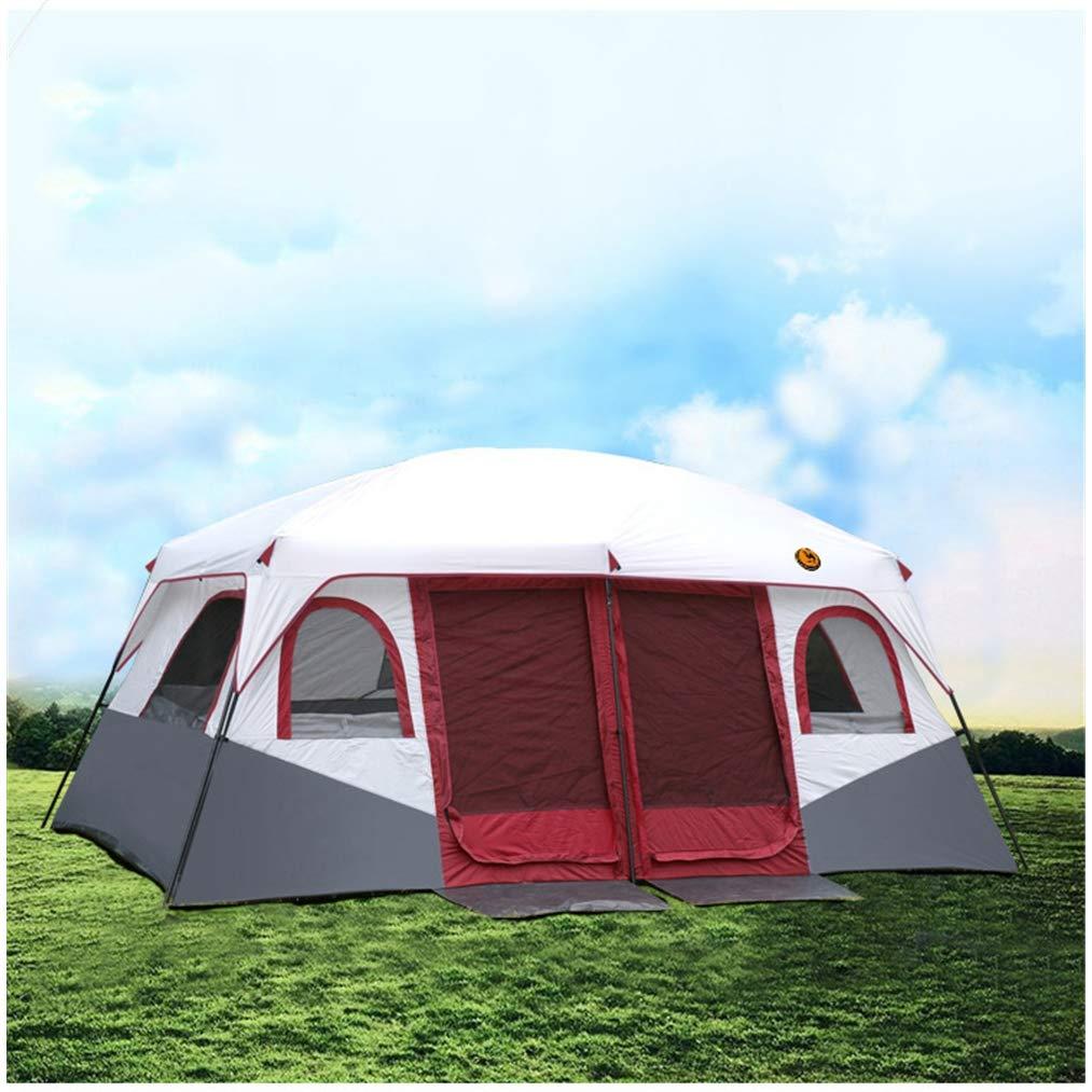 Spacious, UV ProtectionZelt, 8-12 Personen Outdoor Family Zelt Wasserproof Portable Regenschutz Warm Breathable Camping Wanderort,A,430  305  205CM