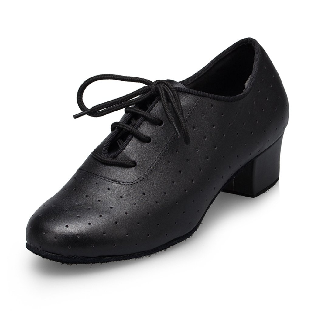 CRC Women's Stylish Round Toe Lace-up Black Leather Ballroom Morden Tango Party Wedding Professional Dance Shoes 8 M US