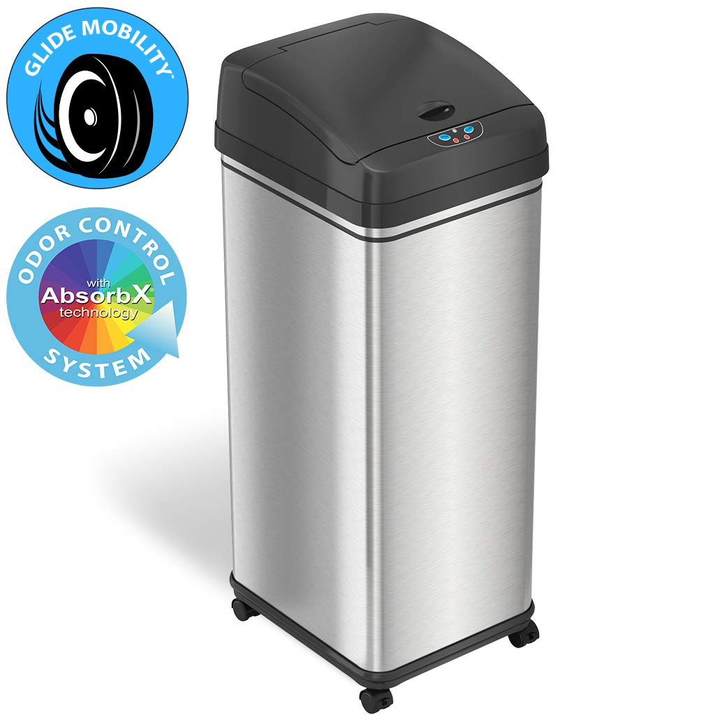 iTouchless Glide 13 Gallon Sensor Trash Can with Wheels and Odor Control System, Stainless Steel, Automatic Kitchen Bin and Office Garbage Can (Powered by Battery or Optional AC Adapter) by iTouchless
