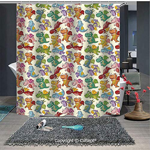 SCOXIXI Shower Curtain with Hooks,Cartoon Fire Dragons Silly Expressions Colorful Flying Fantasy Fairy Tale Characters Decorative,for Bathroom Showers and Bathtubs(59.05