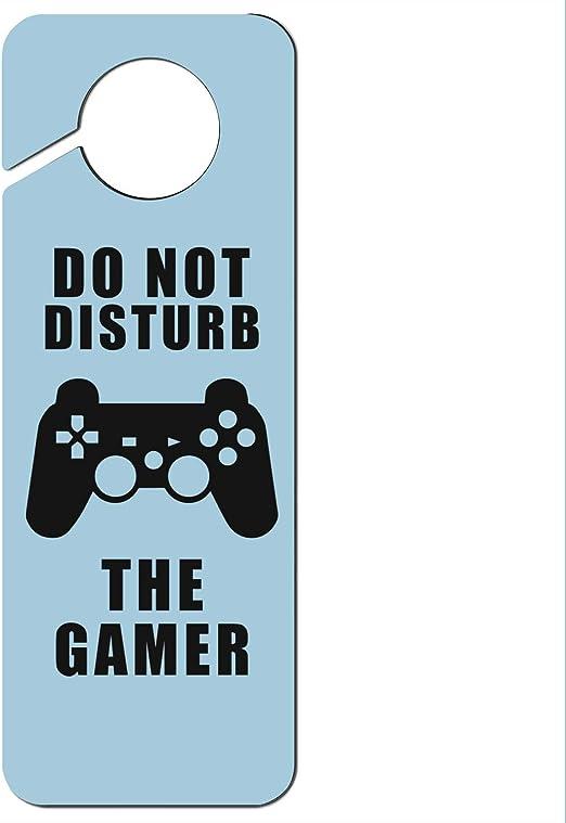 Do Not Disturb the Gamer Boy Male Man Plastic Door Knob Hanger Sign
