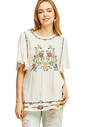 a5c26c4c93b Entro Women's Crew Neck Tunic with Floral Embroidery and Short Flutter  Sleeves (Small, Off