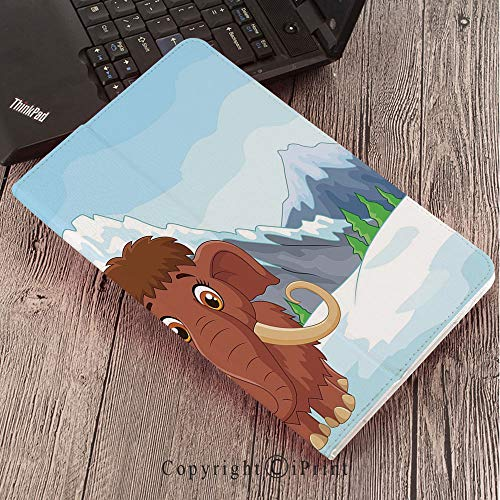 for Samsung Galaxy Tab S3 9.7 T820 T825 Tablet Smart Cover Protective,Cartoon,Baby Mammoth in Ice Snowy Mountain Winter Cheerful Animal Prehistoric Design Decorative,Brown and Blue