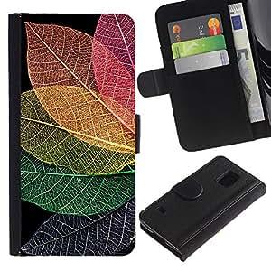 KingStore / Leather Etui en cuir / Samsung Galaxy S5 V SM-G900 / Fall otoño colorido Naturaleza;