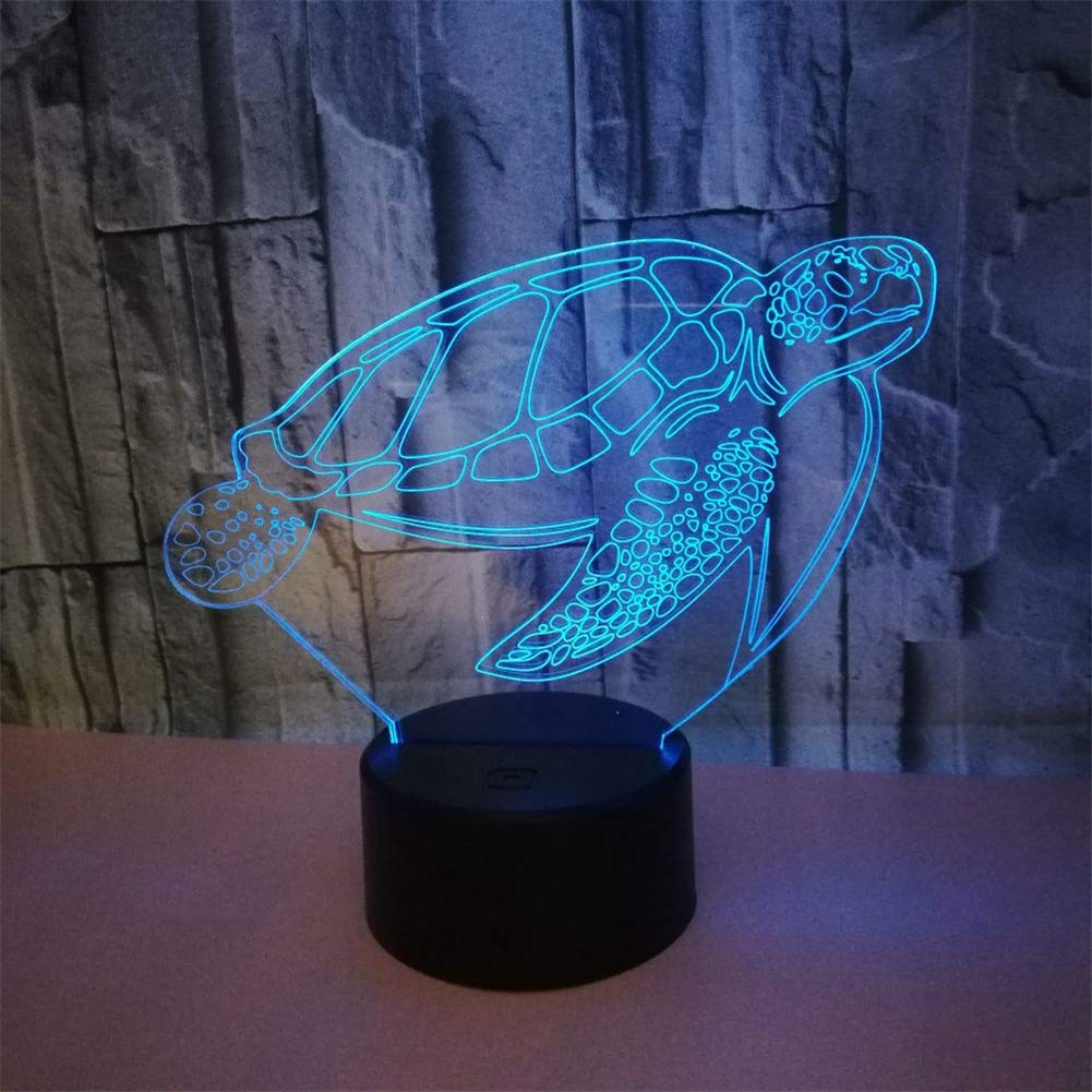 RUIYI Turtle Desk 3D Lamp Animal Visual Optical Illusion Light with USB Base 7 Color Change Bedside Lamps Girl Boy Kid Birthdy Gift Home Bedroom Decoration