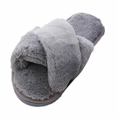 Faux Fur Slipper Inkach Stylish Women Open Toe Fluffy Plush Flat Sandals Fuzzy Slip On Shoes