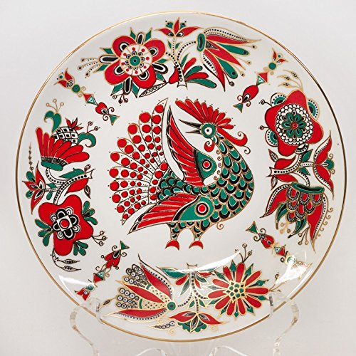 Red Bird Decorative Plate. 22k Gold