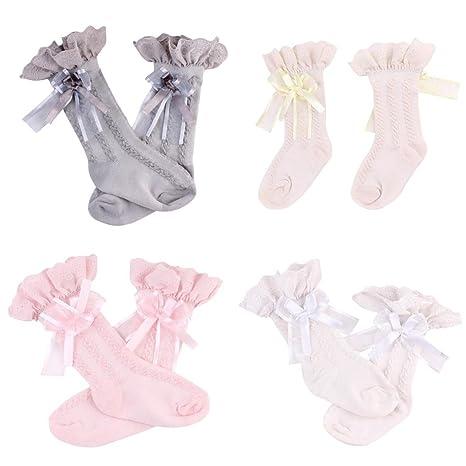 c087de32558 MagiDeal 4 Pair Baby Knee High Socks Ruffled Bow Toddler Babies School Socks  0-2T  Amazon.in  Baby