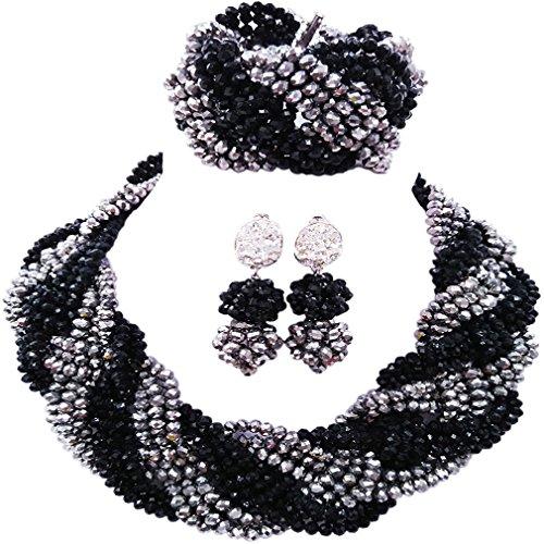 laanc Nigerian Wedding Custom Necklace Earrings Bracelet African Jewelery Bride Jewelry Set (Black and Silver)