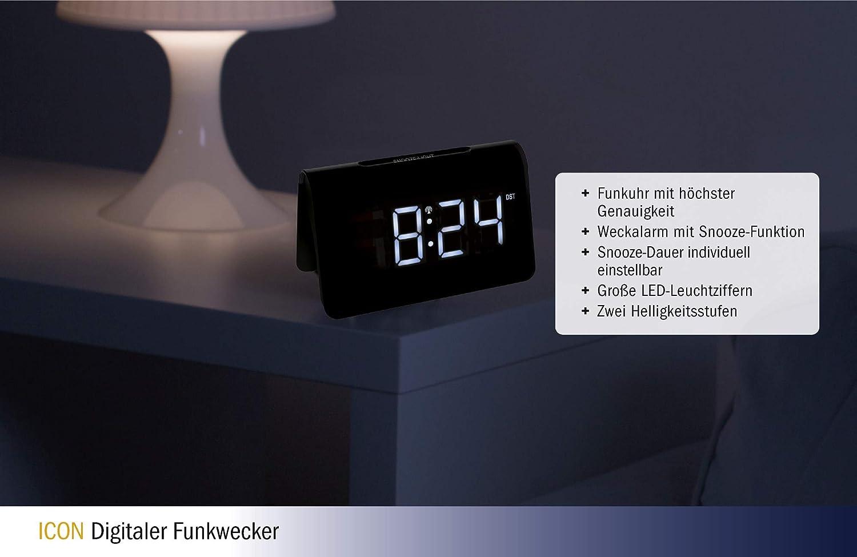 80 mm Funkuhr 132 x schwarz, 64 x B Kunststoff TFA Dostmann ICON Digitaler Funk-Wecker L H 60.2543.05