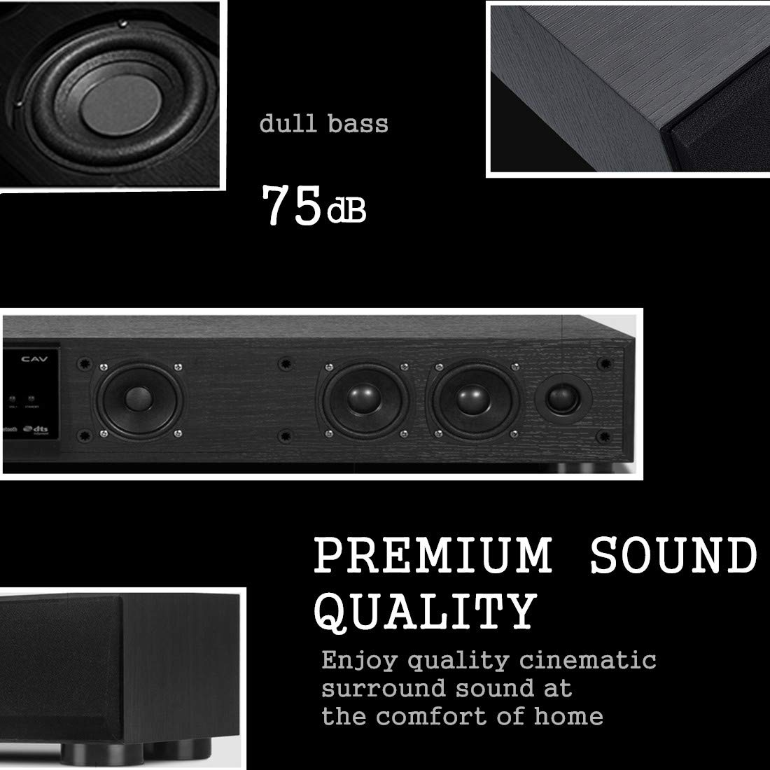 CAV 43.3 Inch Surround Soundbar Speaker 3.1 Channel Bluetooth Center Speaker,Built-In Subwoofer Deep Bass Powered Speaker Wireless Remote Control for Home Family PC TV-TM1100