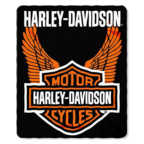 50' Fleece Throw Blanket (Harley-Davidson Wings Fleece Throw Blanket 50'' x 60'' Black & Orange NW918580)