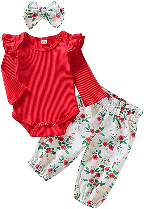 Image of Ropa Bebe Niña Manga Larga Monos Tops + Pantalones Conjuntos Otoño/Invierno 6-24 Meses Navidad