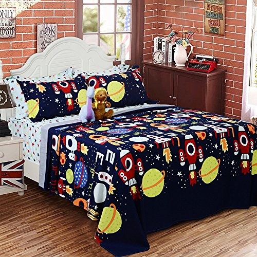 Toddler Bedding Set For Boys Outer Space Rocket Ships Sheets and Pillowcase Set 100% Cotton Bed Sheet Set Deep Pocket 18 Inch Kids Sheets Twin Size - Brandream by Brandream