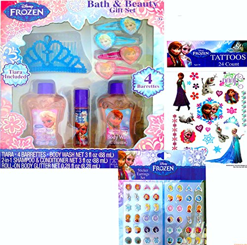 Disney Frozen Holiday Gift Set Bath and Beauty Gift Set with Tattoos and Sticker Earrings Set