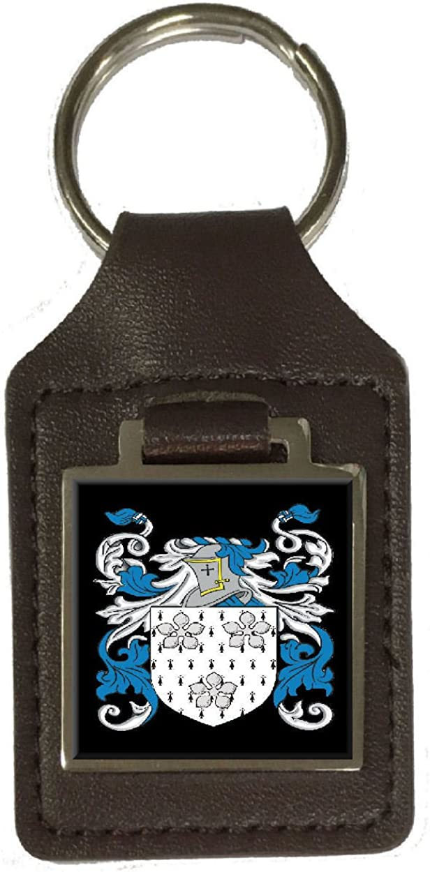 Boyde Family Crest Surname Coat Of Arms Brown Leather Keyring Engraved