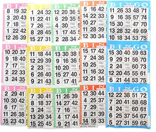 Bingo Paper Game Cards - 3 cards - 5 sheets - 100 books of 5 sheets (Sheets Bingo Game)