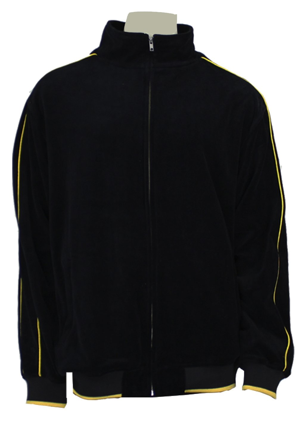 Mens Black Velour Tracksuit with Yellow Piping (Large) by Sweatsedo (Image #3)