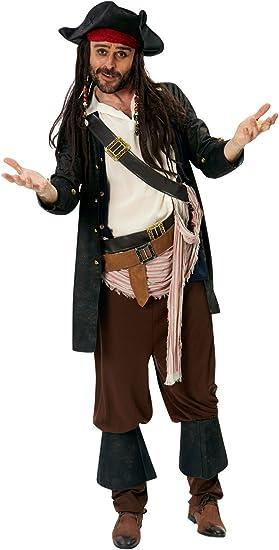 Adulto Pirata dei Caraibi Capitano Jack Sparrow Fancy Dress Up Cappello con Capelli Costume